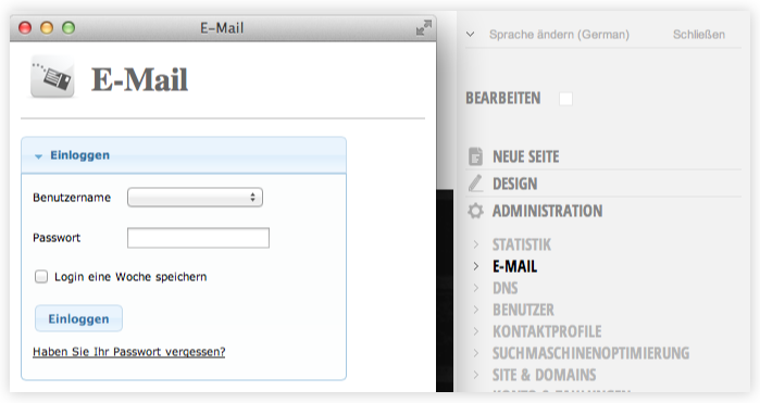 Funktionen - Domain und E-Mail