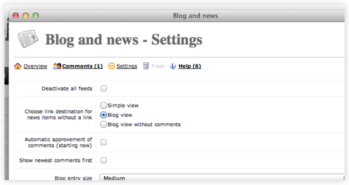 Features - Blog and news feeds